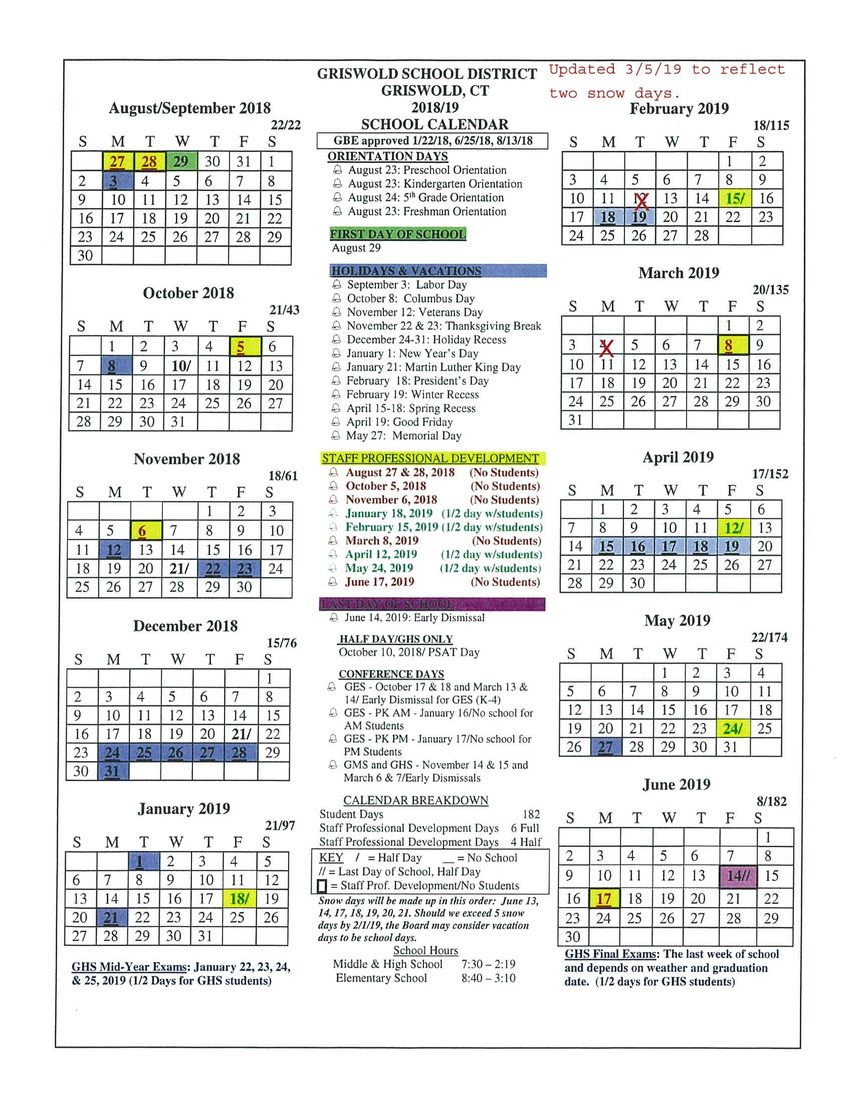 University Of Iowa Calendar 2020 Board Approved Academic Calendar   Griswold Public Schools