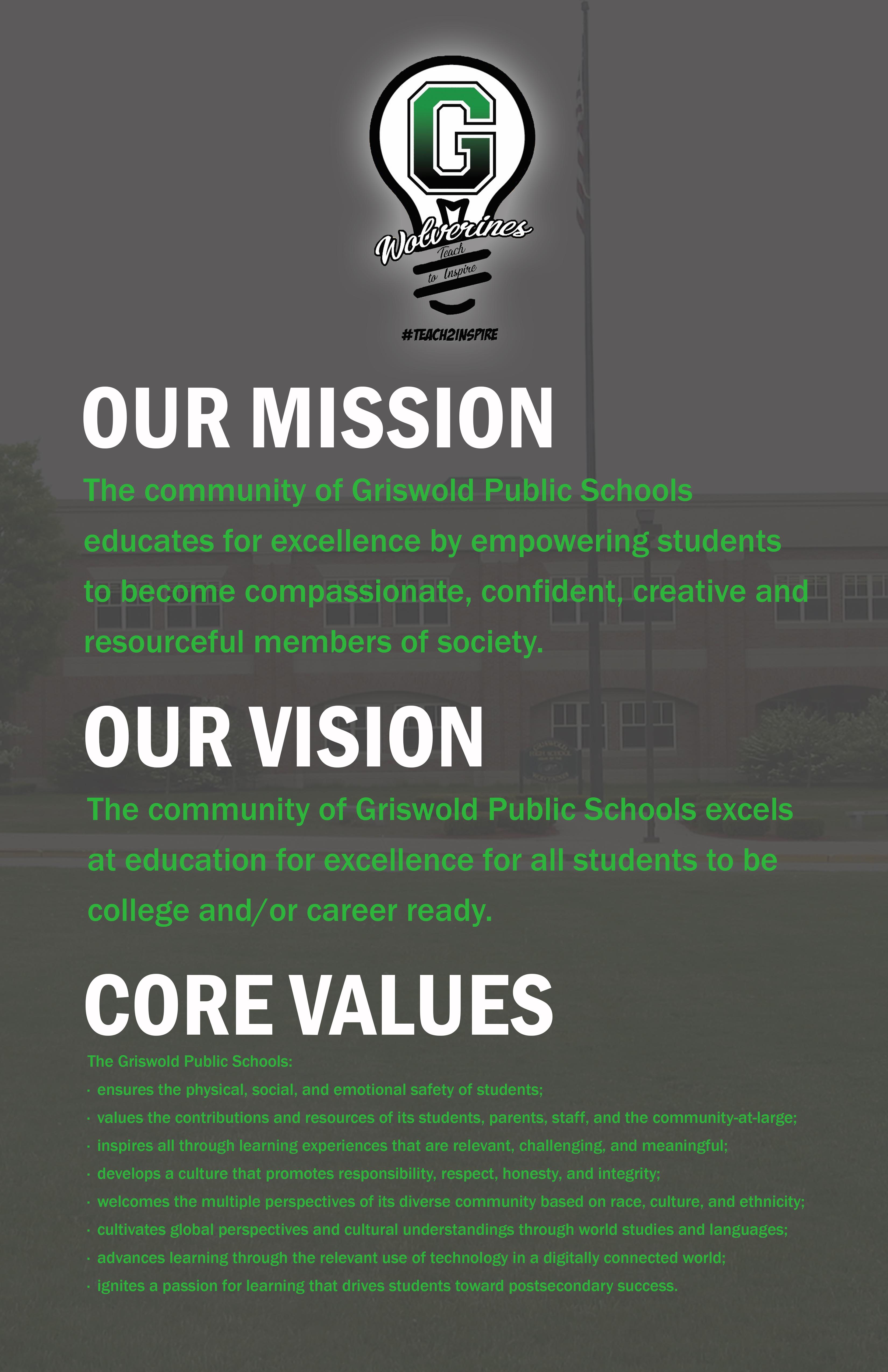 Mission Vision Amp Core Values Griswold Public Schools